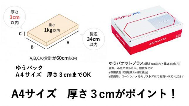 SMARI(スマリ)で使えるゆうパケットのサイズ